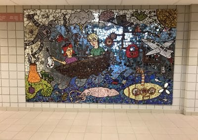 An impressive piece of mosaic art in the theater lobby of USC High School.