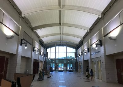 This is the theater lobby. The Large Group Instruction room is to the left, the main theater is to the right.