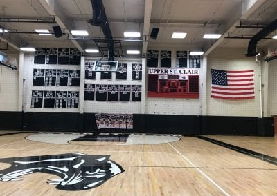 The great wall in the new gymnasium with championship banners for the various athletic teams.