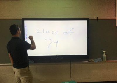 All of the classrooms have now been equipped with these networked electronic display panels / white boards.