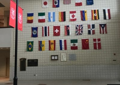 The international wall in the main lobby.