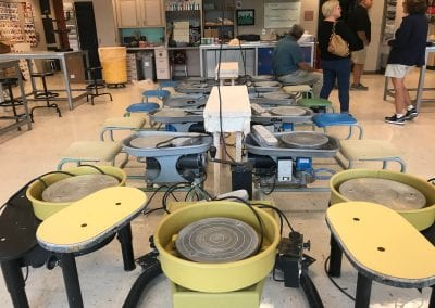 "This picture of pottery wheels in one of the art classrooms is for Emily Dinman Mahoney (or maybe big fans of the movie ""Ghost"" ... )"